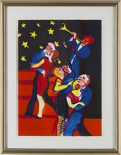 Peter dahl, lithograph in colors, signed and numbered 144/375.