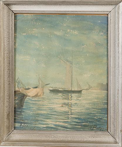 Nikolai belij, akvarell, signerad.