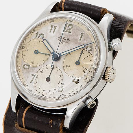 Heuer, kronograf, armbandsur, 37,5 mm.