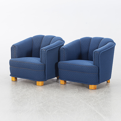 A pair of 1940's easy chairs.