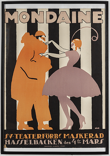 Wilhelm kÅge, a lithographic poster 'mondaine' from rokotryck, ab kopia, stockholm, 1916.