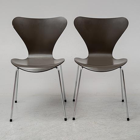 Arne jacobsen, a set of eight sjuan chairs, fritz hansen, denmark 1992.