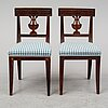 A set of six swedish empire style chairs, ca 1900.