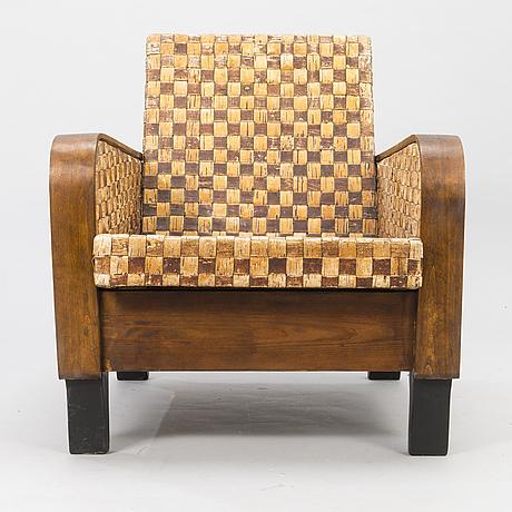 Chair, birch bark upholster, 1940s-50's.