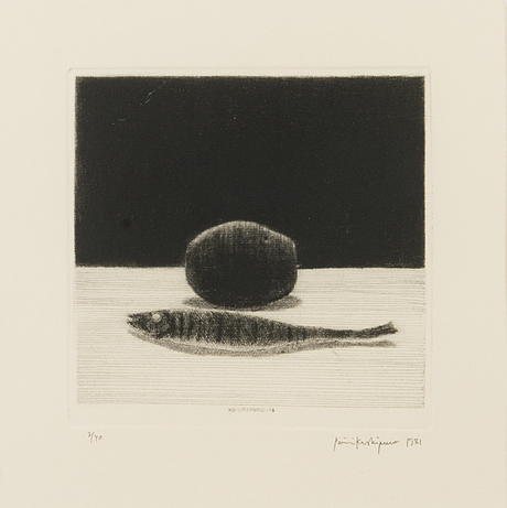 Pentti kaskipuro, dry-point etching, signed and dated 1981. marked 3/40.