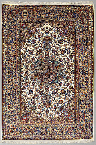 A carpet, old isfahan, part silk, ca 249 x 158 cm.