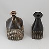 Stig lindberg, two stoneware vases from gustavsberg studio, signed.