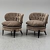 "Otto schulz, a pair of velvet plush easy chairs ""schulz"", jio möbler, sweden, 21st century."
