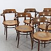 Six drevounia bentwood  chairs mid 20th century.