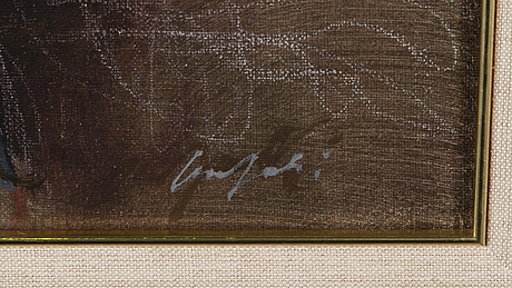 Olli joki, oil on canvas, signed and dated 1995.