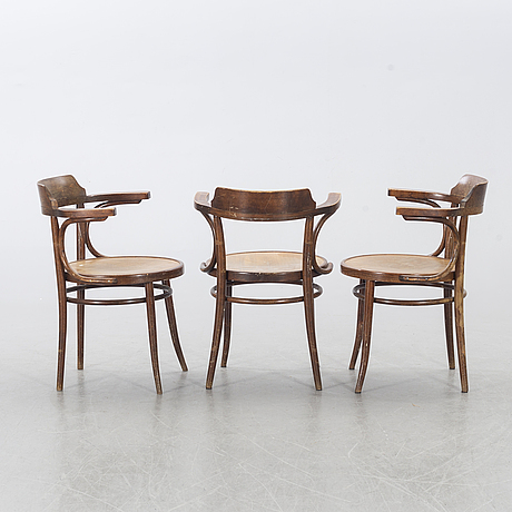 Five drevounia bentwood  chairs mid 20th century.