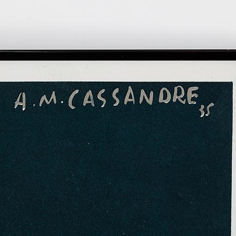 Adolphe mouron cassandre, efter, färglitografisk affisch. signerad och daterad -35 i trycket.