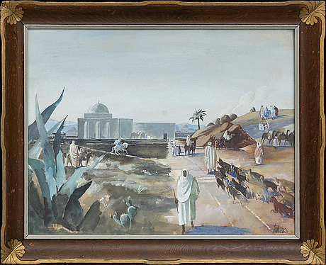 A signed and dated watercolor by gunnar torhamn.
