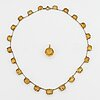 A necklace and a pendant, 9k gold and 18k gold, set with faceted citrines.