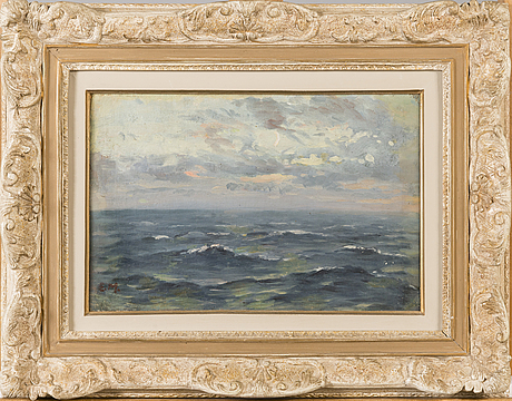 Elias muukka, oil on board, signed.