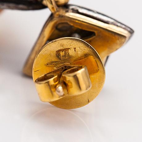 Örhängen, 14k guld, silver, citriner och 8/8-slipade diamanter ca 0.90 ct tot.