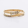 Bangle 18k gold w 2 rubies (possibly syntehic) and rose-cut diamonds approx 1 ct, hinge mechanism.