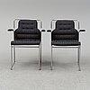 Bruno mathsson, six 'mia' steel armchairs from mathsson international.