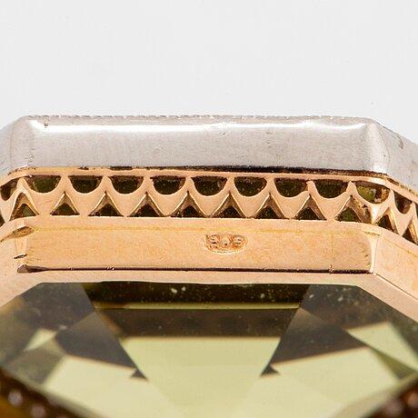Hängsmycke 18k guld och platina med fasettslipad hexagonalt formad gul beryll.