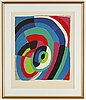 A colored litograph by sonia delaunay, signed and numbered 67/125.