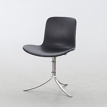"a black leather ""PK-9"" chair, edition Fritz Hansen Denmark."