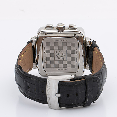 Louis vuitton wristwatch, 40 mm, stainless steel, automatic, original leather strap, original box.