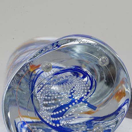 Kjell engman, a glass sculpture kosta boda, sweden, signed.