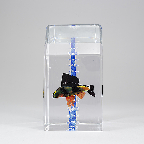 Kjell engman, a glass sculpture, kosta boda, sweden, limited edition signed 7/20.