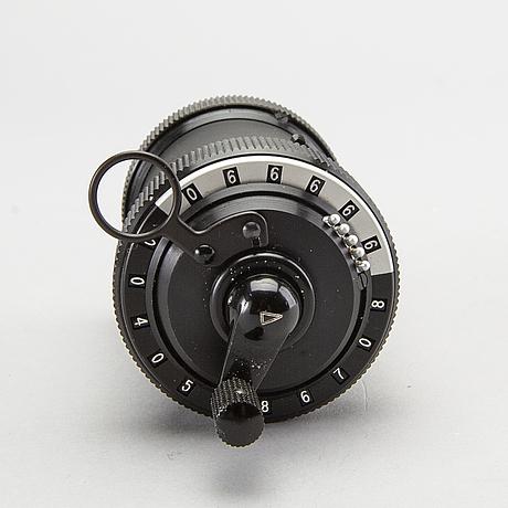 A 'curta, type i' calculator developed by curt herzstark, contina ag mauren, lichtenstein, designed in 1947.