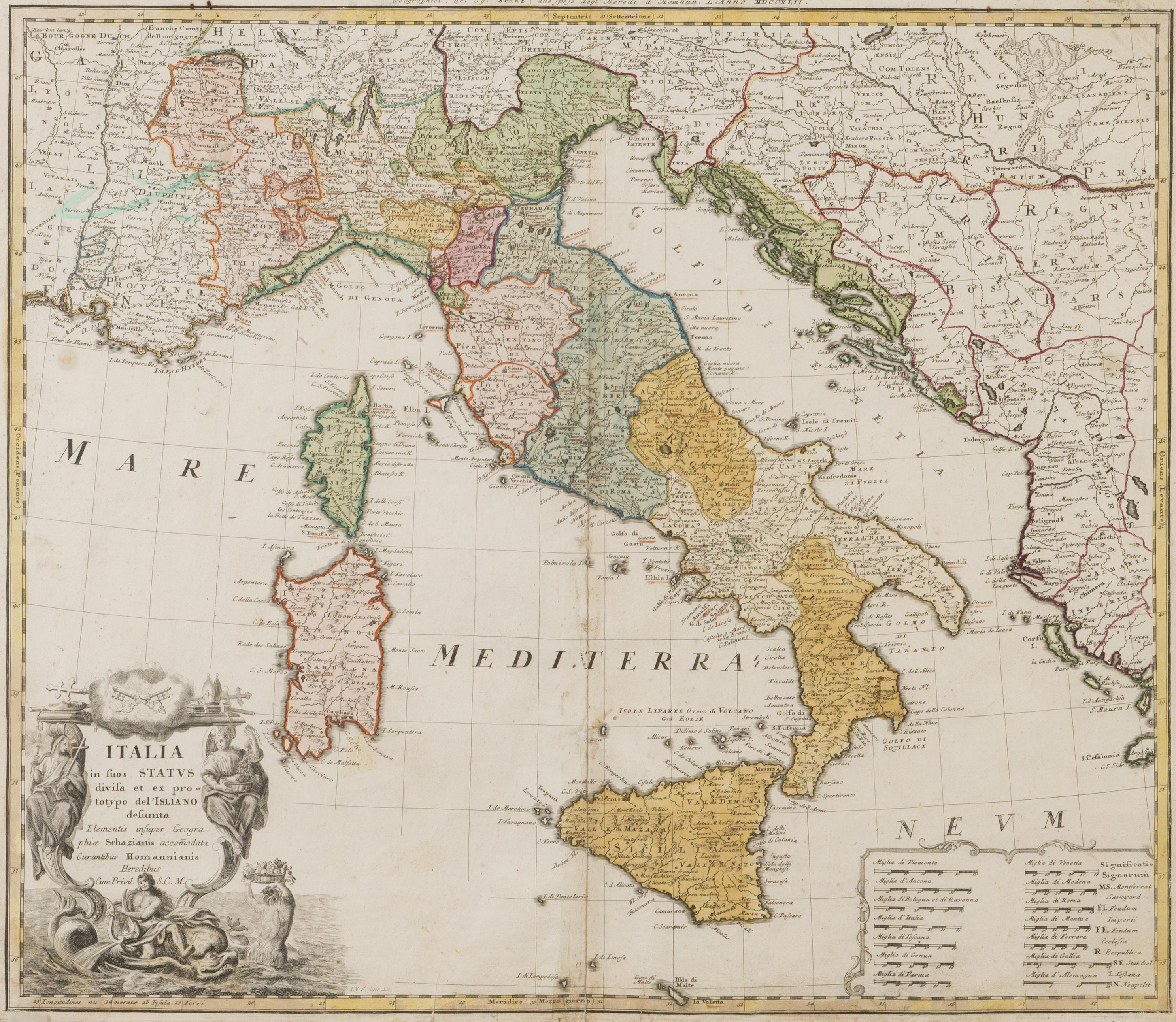 Kartta Italia In Suos Status Divisa Homanns Efterfoljare