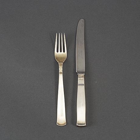 Jacob Ängman, 22 psc silver cutlery 'rosenholm' gab, some eskilstuna 1969.