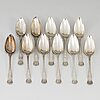 Johan edvard milton, 11 silver spoons, borås 1866.