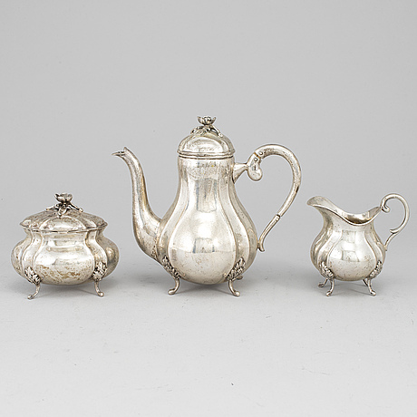 A silver 830 coffee pot, creamer and sugar bowl. swedish import mark.