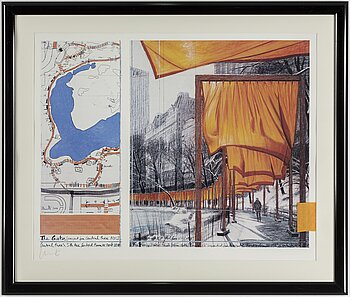 CHRISTO & JEANNE-CLAUDE, offset with fabric, signed Christo.