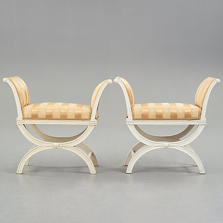 A pair of late gustavian late 18th century stools.