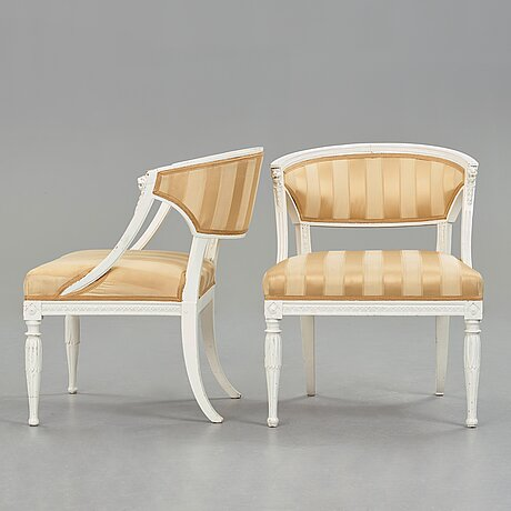 A pair of late gustavian armchairs, beginning of the 19th century.