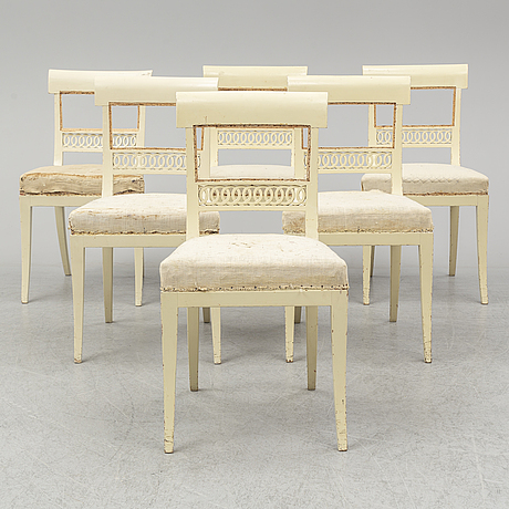 A set of six empire chairs. first half of the 19th century.
