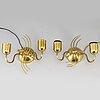 VÄgglampetter, ett par, mässing, 1900-talets mitt.