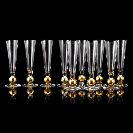 """Gunnar cyrÉn, a set of ten champagne glasses, """" nobel"""", orrefors."""