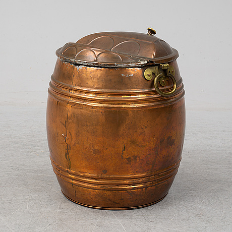 A 19th century copper water barrel.
