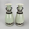 A large pair of chinese blue and white porcelain vases, early 20th century.