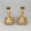 A pair of gustavian style brass candlesticks, no 38, gusums bruk, 20th century.
