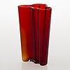 Alvar aalto, a red 'savoy' glass vase, iittala 2000s.