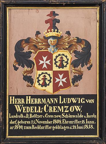 Coat of arms,  hermann ludwig von wedel 1858.