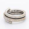 Ring 18k whitegold w 9 princess-cut diamonds 0,40 ct inscribed.