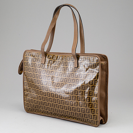 Fendi, a textile handbag.