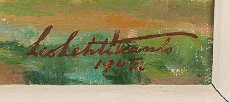 Leo lehtikanto, oil on board, signed and dated 1945.