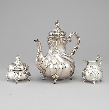 A german 20th century parcel-gilt silver coffee-set.