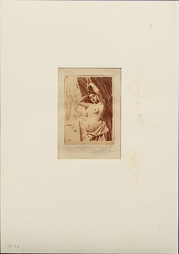 Anders zorn, etsning i rött, 1891 (upplagan 15-20 exemplar, troligen endast ett fåtal i rött), signerad med blyerts.