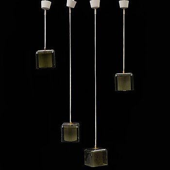 CARL FAGERLUND, a set of four ceiling lights, 1960s-70s, for Orrefors.